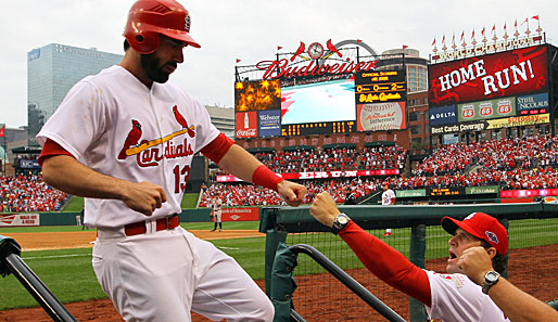 Matt Carpenter (l.) schlug in Spiel 4 einen Two-Run-Homerun