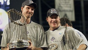 Randy Johnson (l.) und Curt Schilling waren die Co-MVPs der World Series 2001