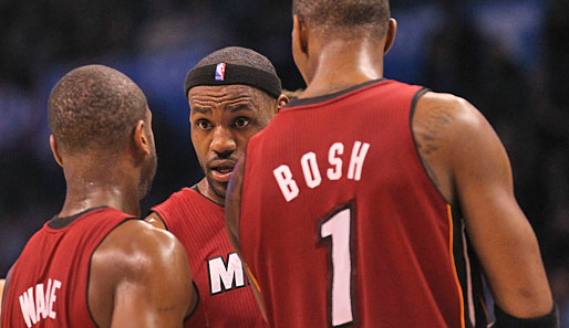 Miamis Big three Dwyane Wade, LeBron James und Chris Bosh (v.l.) besiegten Oklahoma