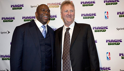 Basketball-Legenden unter sich: Magic Johnson (l.) und Larry Bird