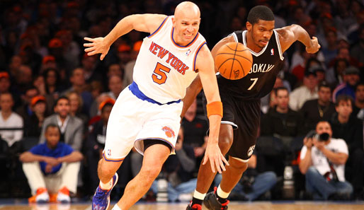 Jason Kidd (l.) klaute Joe Johnson (r.) und den Nets ingesamt drei Mal den Ball