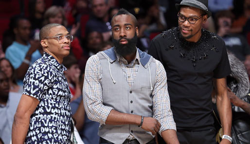 Russell Westbrook, James Harden und Kevin Durant waren beim All-Star Weekend unzertrennlich
