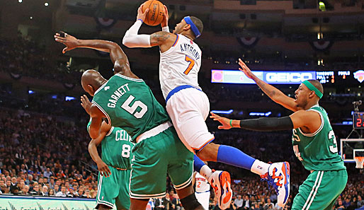 Knicks-Superstar Carmelo Anthony erzielte gegen die Boston Celtics 34 Punkte