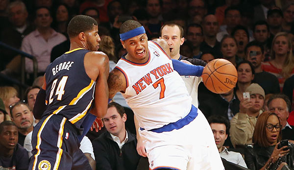 Im Showdown der Small Forward behielt Paul George (l.) gegen Carmelo Anthony (r.) die Überhand