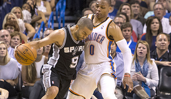 Tony Parker (l.) und Russell Westbrook liefern sich ein tolles Point-Guard-Duell