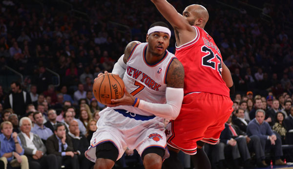Carmelo Anthony (l.) gilt als Primärziel der Chicago Bulls