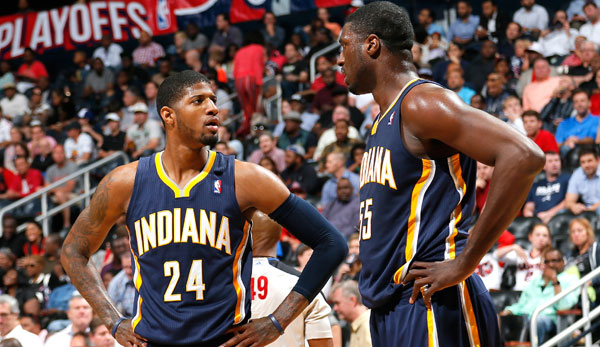 Paul George (l.) und Roy Hibbert scheiterten in den Conference Finals an den Miami Heat