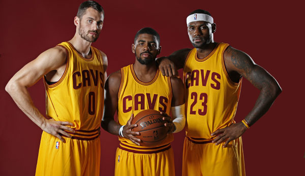 Kevin Love, Kyrie Irving und LeBron James (v.l.n.r.) bilden Clevelands neues Super-Trio