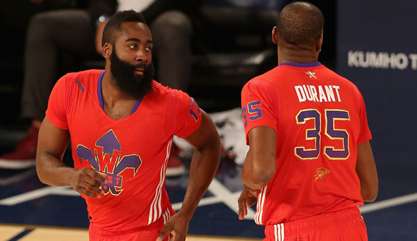 James Harden (l.) und Kevin Durant sind beim All-Star Game in New York dabei