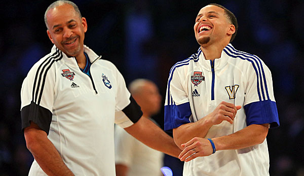 Dell (l.) und Stephen Curry traten gemeinsam beim All-Star Weekend an