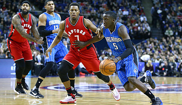 Vicotor Oladipo (r.) und Kyle Lowry lieferten sich packende Duelle in London