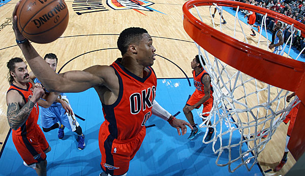 Point Guard Russell Westbrook greift im Schnitt 7,1 Rebounds ab