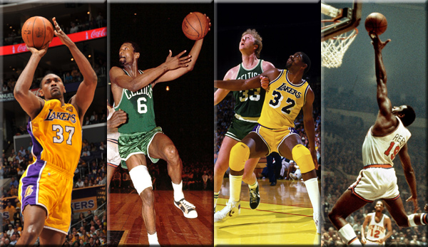 Ron Artest, Bill Russell, Larry Bird und Magic Johnson, Willis Reed (v.l.n.r.)