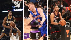 Die drei Gewinner am All-Star-Saturday: Robinson, Porzingis und Gordon (v.l.)