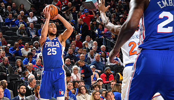 NBA: Philadelphia 76ers zittern sich zum Sieg gegen New York Knicks - Ben Simmons trifft ersten Dreier