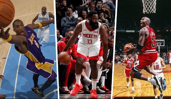 Diashow: NBA - Die meisten Punkte nach 10 Saison-Spielen: James Harden stellt sogar Michael Jordan in den Schatten