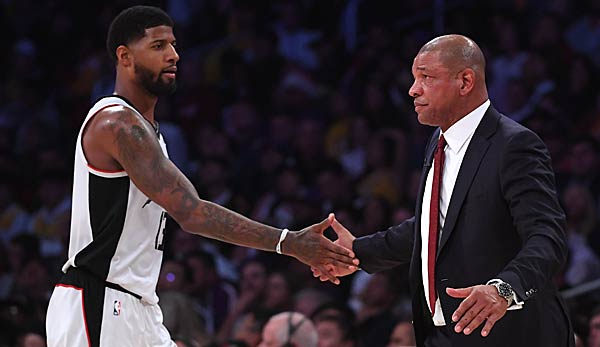 Paul George und Coach Doc Rivers peilen mit den Los Angeles Clippers einen Sieg an.