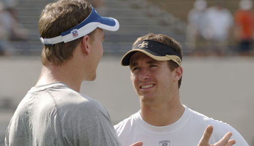 Peyton Manning (l., Indianapolis Colts) und Drew Brees (New Orleans Saints) starten beim Pro Bowl