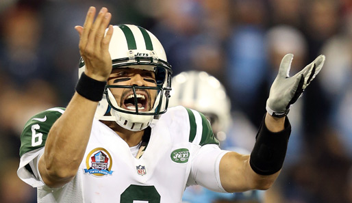 Erwischte eine rabenschwarze Monday Night: Jets-QB Mark Sanchez mit 4 Interceptions