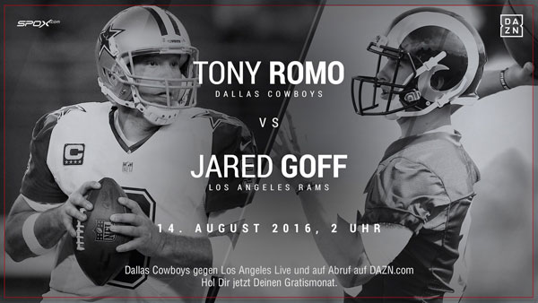 Tony Romo ist der Quarterback der Dallas Cowboys, Jared Goff der der Los Angeles Rams