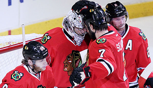 Goalie Corey Crawford sicherte den Blackhawks den Sieg in Spiel 1