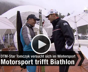zum Video: Motorsport trifft Biathlon