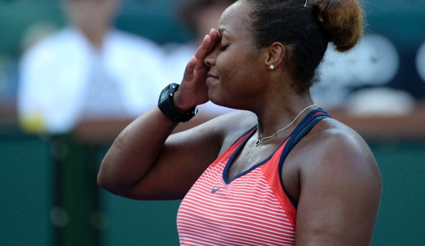 INDIAN WELLS, CA - MARCH 9: Taylor Townsend of the United States reacts against Vania King of the United States during day three of the BNP Paribas Open at Indian Wells Tennis Garden on March 9, 2016 in Indian Wells, California. (Photo by Kevork Dj...