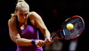 STUTTGART, GERMANY - APRIL 18: Sabine Lisicki of Germany plays a backhand in her match against Timea Babos of Hungary during Day 1 of the Porsche Tennis Grand Prix at Porsche-Arena on April 18, 2016 in Stuttgart, Germany. (Photo by Dennis Grombkows...