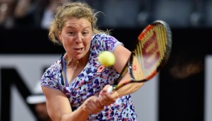 ROME, ITALY - MAY 10: Anna-Lena Friedsam of Germany plays a backhand in her match against Serena Williams of the United States on Day Three of The Internazionali BNL d'Italia 2016 on May 10, 2016 in Rome, Italy. (Photo by Dennis Grombkowski/Getty I...