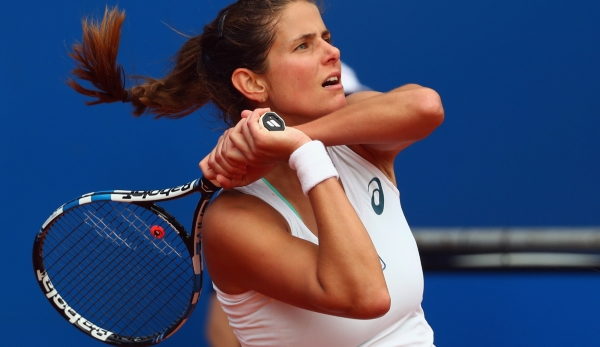 NUREMBERG, GERMANY - MAY 18: Julia Goerges of Germany reacts during her match against Yulia Putintseva of Kasakhstan during day five of the Nuernberger Versicherungscup 2016 on May 18, 2016 in Nuremberg, Germany. (Photo by Alex Grimm/Bongarts/Getty...