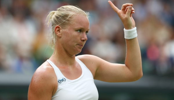 LONDON, ENGLAND - JULY 02: Kiki Bertens of The Netherlands reacts during the Ladies Singles third round match against Simona Halep of Romania on day six of the Wimbledon Lawn Tennis Championships at the All England Lawn Tennis and Croquet Club on Ju...