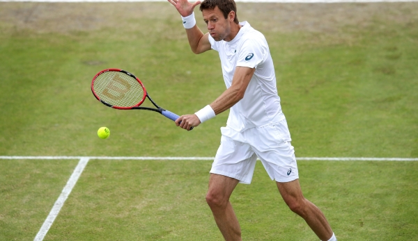 NOTTINGHAM, ENGLAND - JUNE 25: Daniel Nestor of Canada attacks at the net during his men's doubles final match with Dominic Inglot of Great Britain playing against Marcelo Melo of Brazil and Ivan Dodig of Croatia during day six of the ATP Aegon Open...
