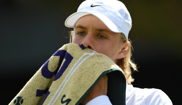 LONDON, ENGLAND - JULY 05: Denis Shapovalov of Canada reacts against Finn Bass of Great Britain on day eight of the Wimbledon Lawn Tennis Championships at the All England Lawn Tennis and Croquet Club on July 5, 2016 in London, England. (Photo by S...
