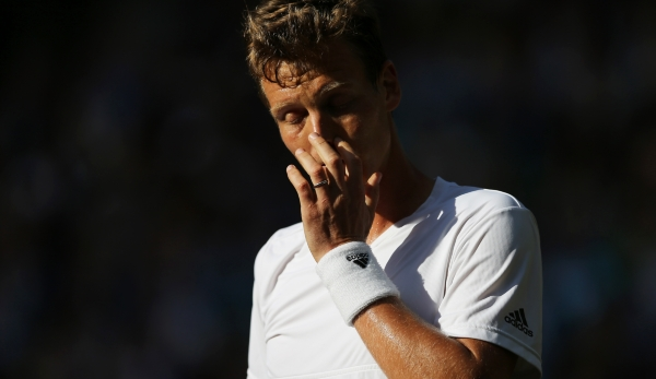 LONDON, ENGLAND - JULY 08: Tomas Berdych of The Czech Republic looks on during the Men's Singles Semi Final match against Andy Murray of Great Britain on day eleven of the Wimbledon Lawn Tennis Championships at the All England Lawn Tennis and Croque...