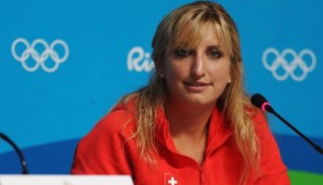RIO DE JANEIRO, BRAZIL - AUGUST 04: Tennis player Timea Bacsinszky of Switzerland talks while attending a press conference on August 4, 2016 in Rio de Janeiro, Brazil. (Photo by Ker Robertson/Getty Images)