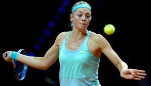 STUTTGART, GERMANY - APRIL 23: Carina Witthoeft of Germany returns during her match against Caroline Garcia of France on day four of the Porsche Tennis Grand Prix at Porsche-Arena on April 23, 2015 in Stuttgart, Germany. (Photo by Daniel Kopatsch/B...