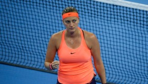 BEIJING, CHINA - OCTOBER 07: Petra Kvitova of the Czech Republic reacts against Madison Keys of the United States during her Women's Singles Quarter Finals match on day seven of the 2016 China Open at the China National Tennis Centre on October 7, 2...