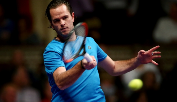 LONDON, ENGLAND - DECEMBER 03: Xavier Malisse of Belgium plays a forehand during his Group B Mens Singles match against Sergi Bruguera of Spain on day one of the Statoil Masters Tennis at the Royal Albert Hall on December 3, 2014 in London, England....