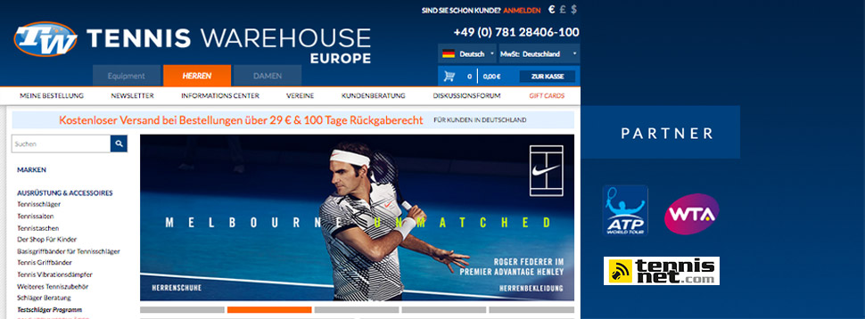 Tennis Warehouse Europe - der neue Partner von tennisnet.com