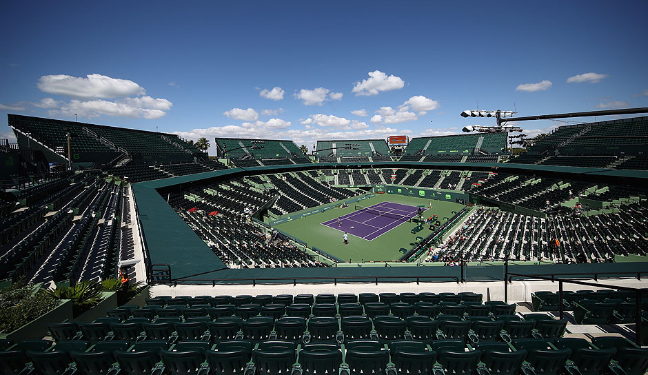 Der Center Court der Miami Open vor Tag 2 des Turniers.