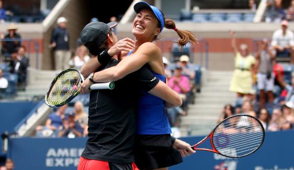 Martina Hingis sprang ihrem Mixed Partner Jamie Murray in die Arme